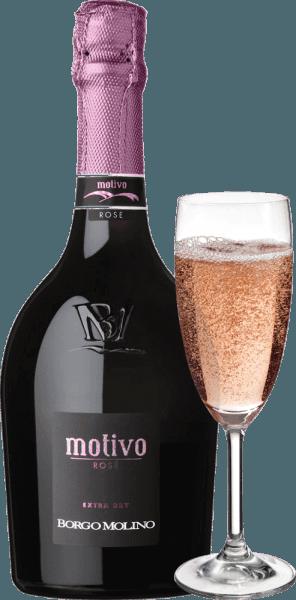 """Il Motivo Rosé extra dry di Borgo Molino è un ottimo aperitivo di Glera, Raboso e Pinot Nero. Questo spumante top del Veneto delizia con un sacco di frutta vivace e un gusto meravigliosamente fruttato al palato! Il Motivo Rosé di Borgo Molino si presenta rosa brillante nel bicchiere. Un perlage fine e duraturo, abbinato a un bouquet fruttato e intenso che ricorda i lamponi, le fragole e le rose, caratterizza questa cuvée. Fresco, succoso e vivace nel gusto, il Motivo Rosé fa tutto bene. Uno spumante del Nord Italia, che sa ispirare immediatamente e che già con la sua insolita forma di bottiglia dice """"Ecco qualcosa di speciale!"""" Vinificazione del Borgo Molino Motivo Rosé Il Motivo Rosé è vinificato a Borgo Molino dai vitigni Glera, Raboso e Pinot Nero. Le uve sono coltivate nella Marca Trevigiana e vengono raccolte al momento della maturazione ottimale. Raccomandazione per il Borgo Molino Motivo Rosé Godetevi questo straordinario spumante veneto come aperitivo o con piatti aromatici a base di pesce. Premi per il Motivo Rosé IWSC 2017: Argento Luca Maroni 2017: 90 punti Mundus Vini 2013: Argento"""